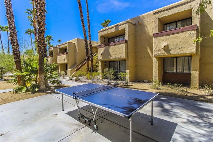 Photo of ping pong table on exterior common area.